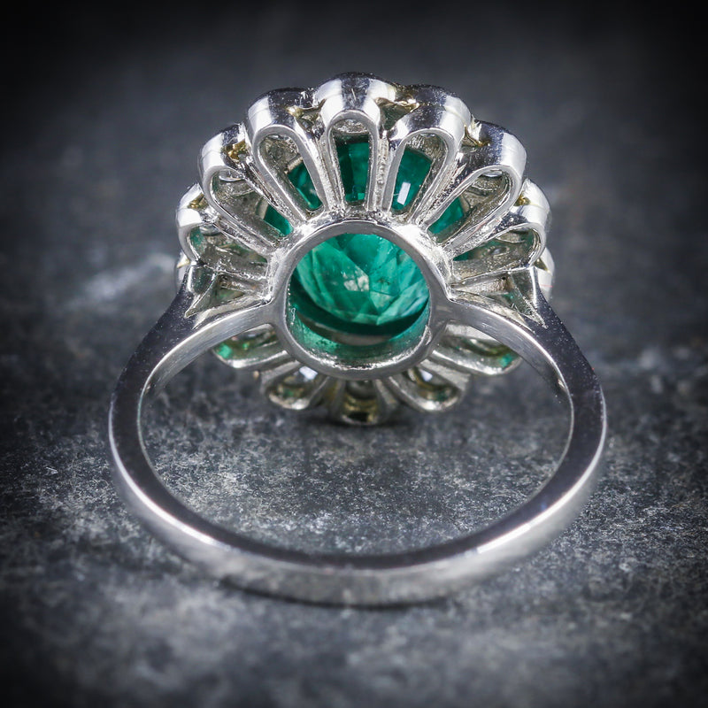 Emerald Diamond Cluster Ring All Platinum 3.50ct Emerald BACK