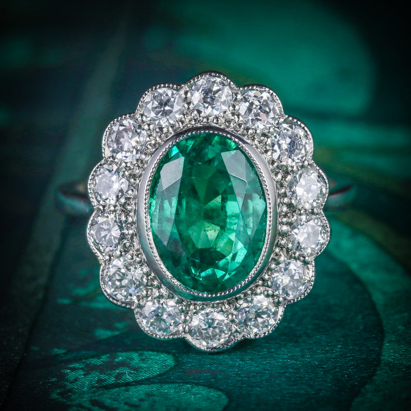 Emerald Diamond Cluster Ring All Platinum 3.50ct Emerald COVER
