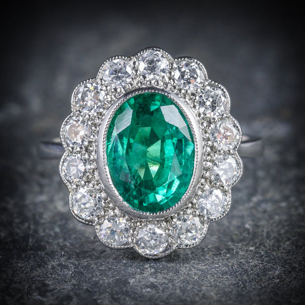 Emerald Diamond Cluster Ring All Platinum 3.50ct Emerald FRONT