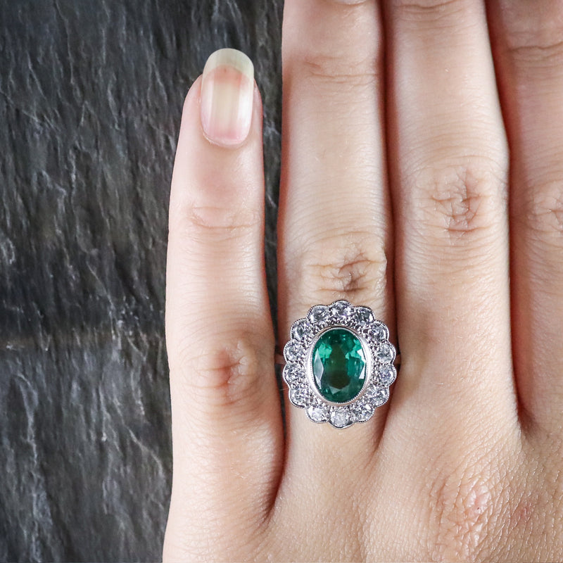 Emerald Diamond Cluster Ring All Platinum 3.50ct Emerald HAND