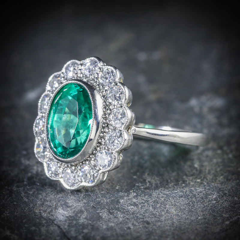 Emerald Diamond Cluster Ring All Platinum 3.50ct Emerald SIDE