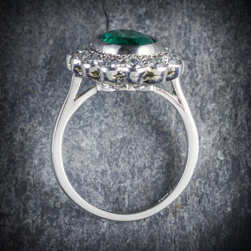 Emerald Diamond Cluster Ring All Platinum 3.50ct Emerald TOP