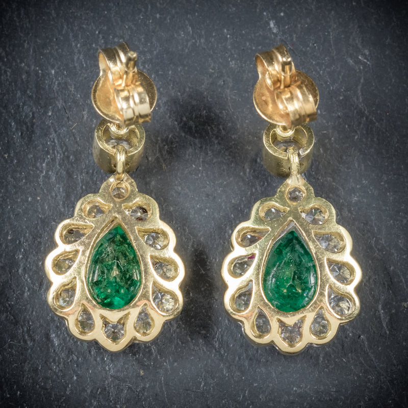 Emerald Diamond Drop Earrings 18ct Gold  back