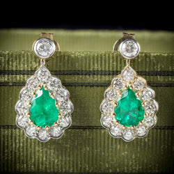 Emerald Diamond Drop Earrings 18ct Gold  COVER