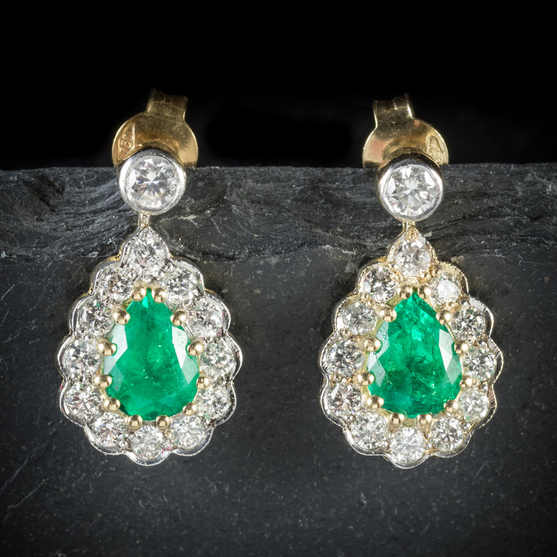 Emerald Diamond Drop Earrings 18ct Gold  front