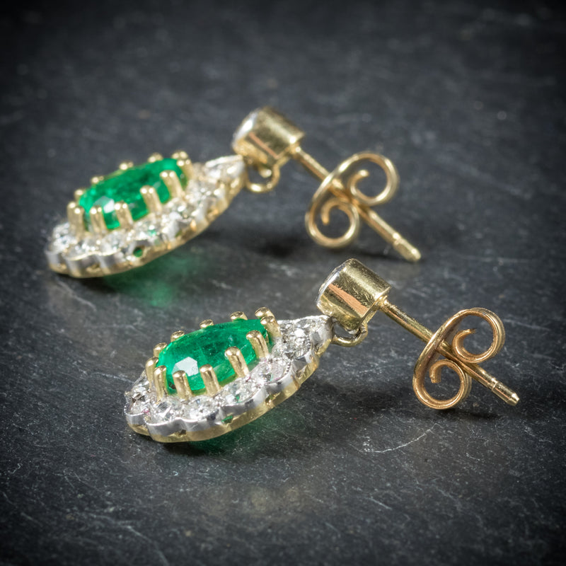Emerald Diamond Drop Earrings 18ct Gold  side