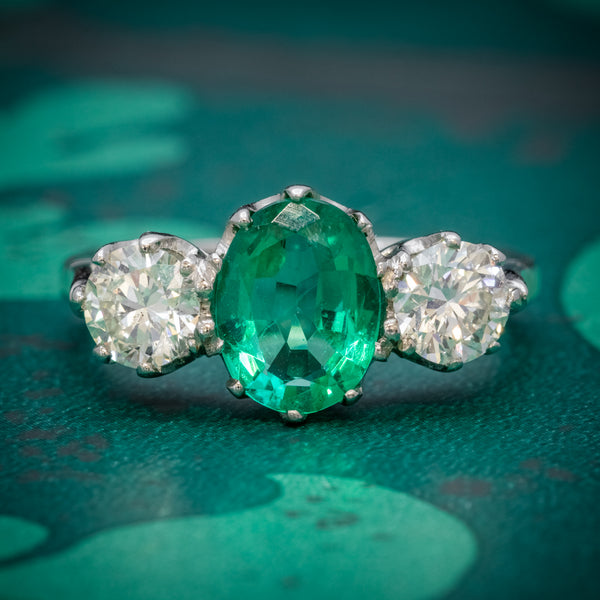 Emerald Diamond Trilogy Ring Platinum 2.50ct Emerald COVER