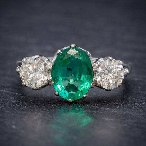Emerald Diamond Trilogy Ring Platinum 2.50ct Emerald FRONT