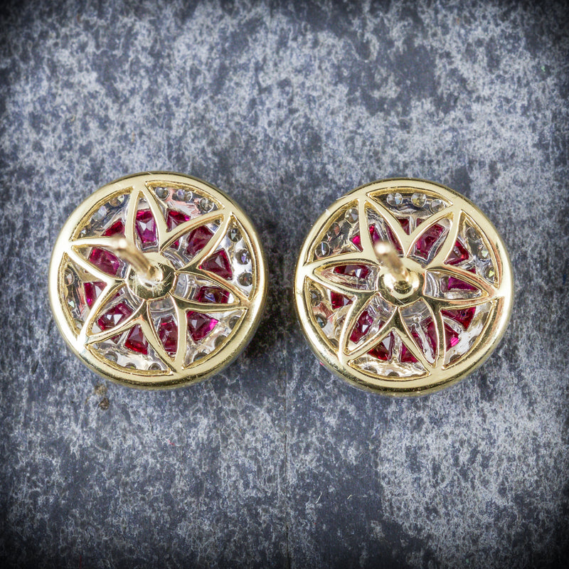 FRENCH CUT RUBY DIAMOND EARRINGS 18CT GOLD BACK