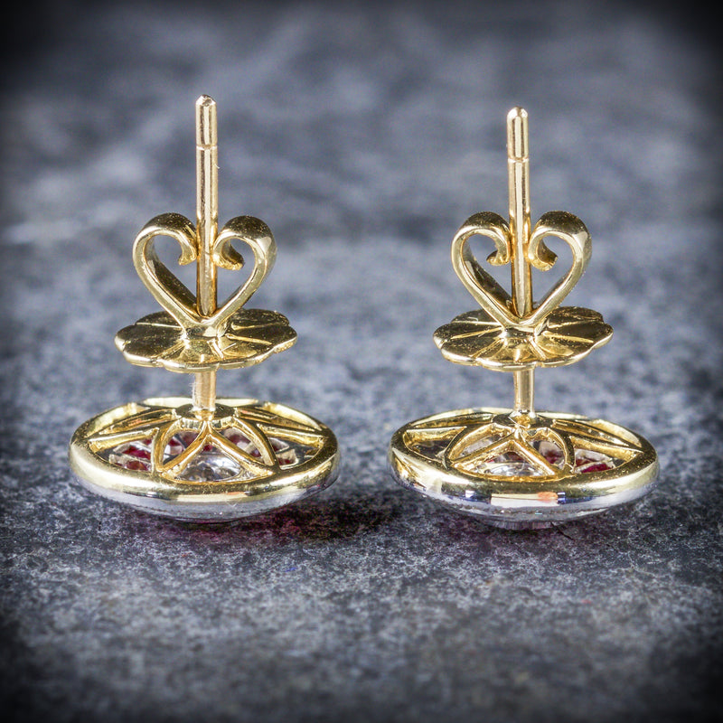 FRENCH CUT RUBY DIAMOND EARRINGS 18CT GOLD SIDE