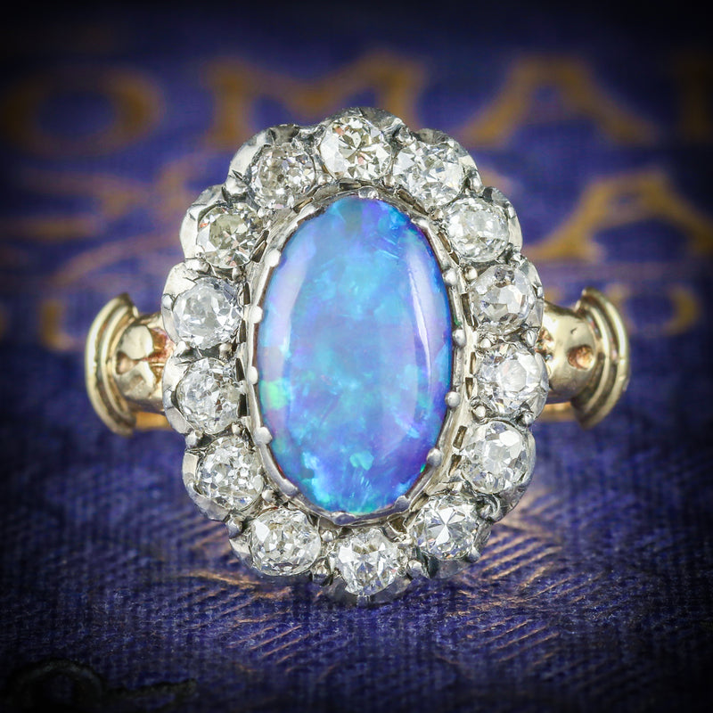 Antique Georgian Opal Cluster Ring 18ct Gold Circa 1800 COVER