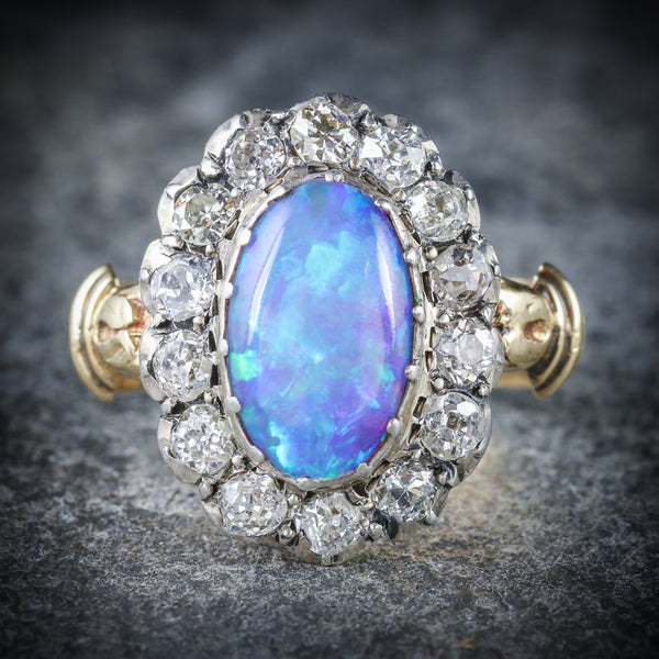 Antique Georgian Opal Cluster Ring 18ct Gold Circa 1800 front