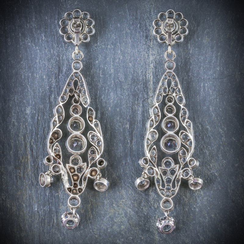 ANTIQUE GEORGIAN PASTE DROP EARRINGS CIRCA 1800 BACK