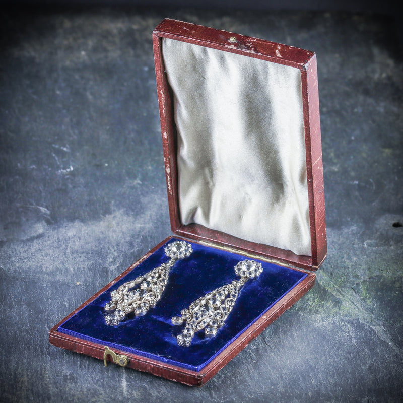 ANTIQUE GEORGIAN PASTE DROP EARRINGS CIRCA 1800 BOX OPEN