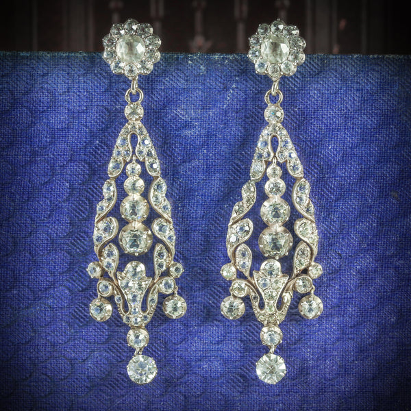 ANTIQUE GEORGIAN PASTE DROP EARRINGS CIRCA 1800 COVER