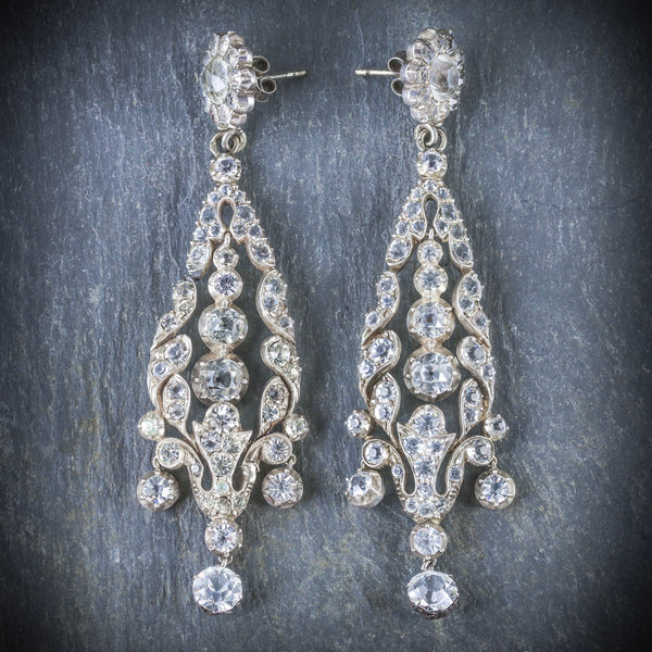 ANTIQUE GEORGIAN PASTE DROP EARRINGS CIRCA 1800 FRONT
