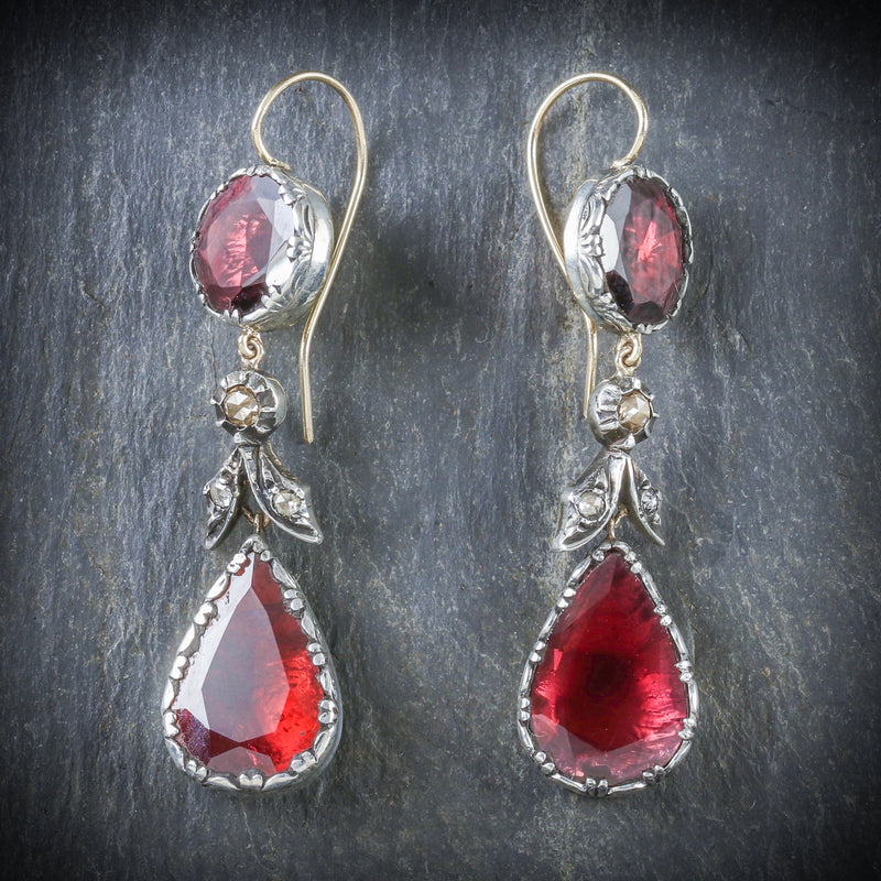 GEORGIAN FLAT CUT GARNET DIAMOND DROP EARRINGS 18CT GOLD SILVER FRONT