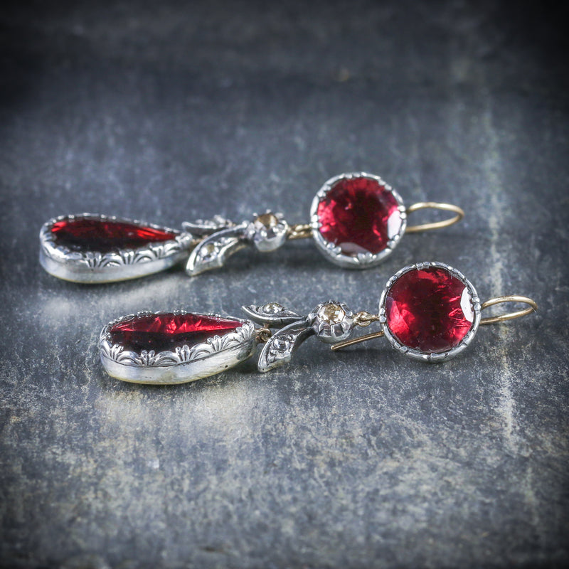 GEORGIAN FLAT CUT GARNET DIAMOND DROP EARRINGS 18CT GOLD SILVER SIDE