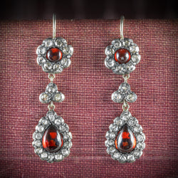GEORGIAN GARNET DIAMOND DROP EARRINGS COVER