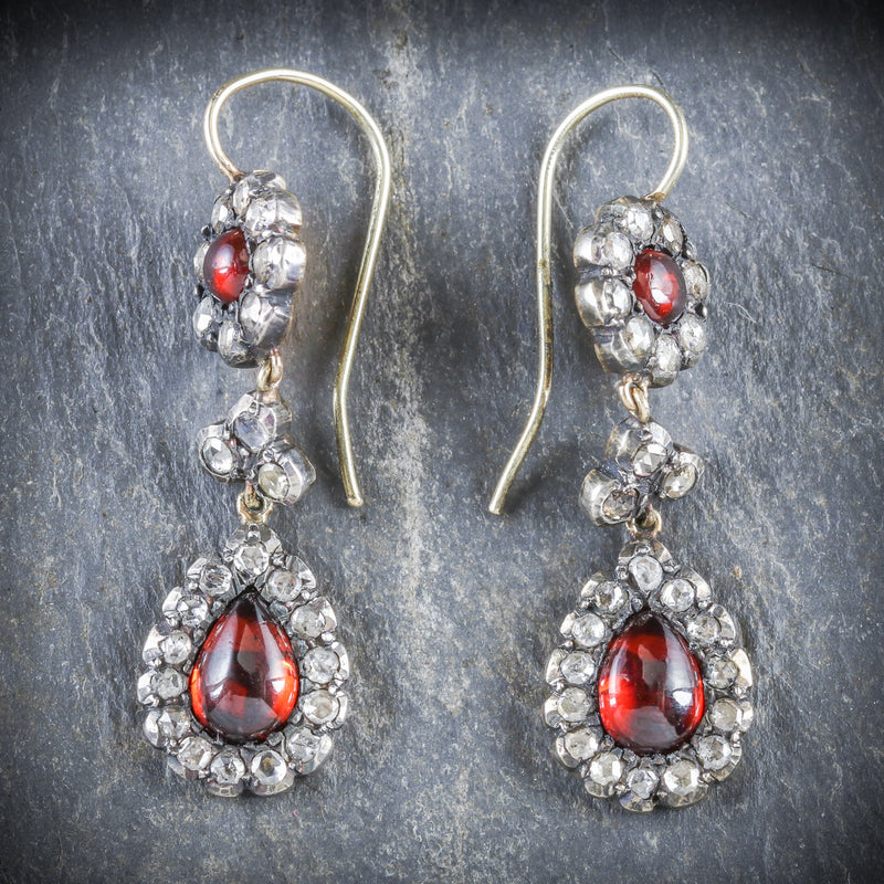 GEORGIAN GARNET DIAMOND DROP EARRINGS FRONT