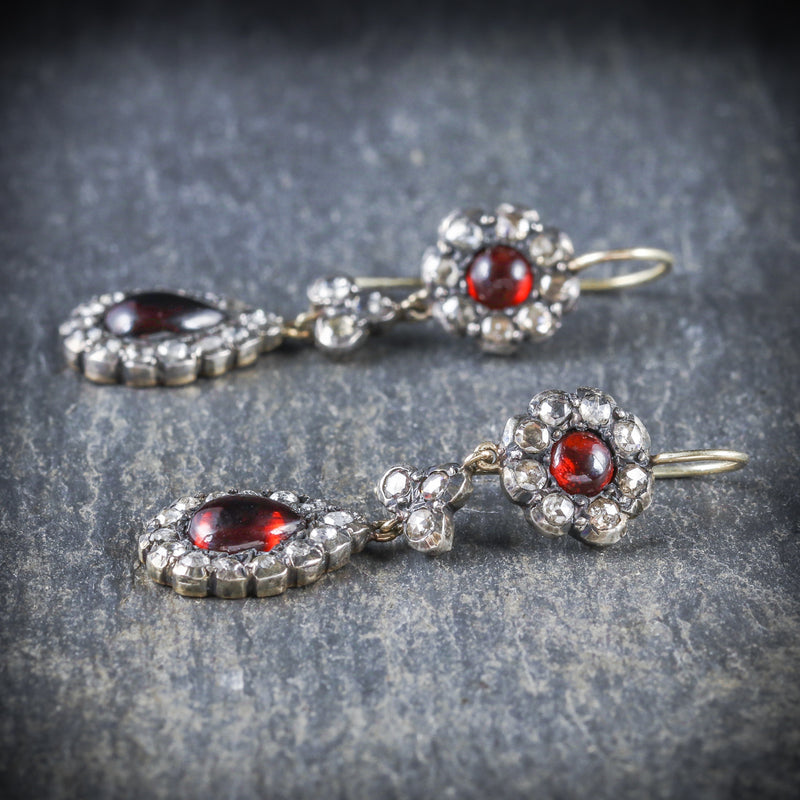 GEORGIAN GARNET DIAMOND DROP EARRINGS SIDE