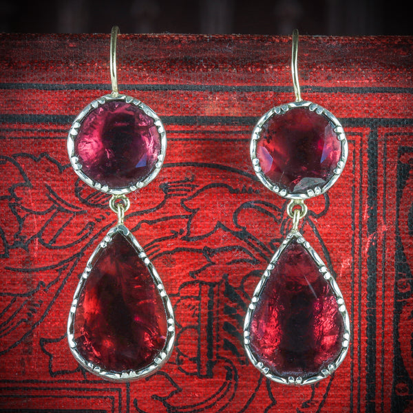 GEORGIAN GARNET DROP EARRINGS 18CT GOLD FLAT CUT GARNET COVER