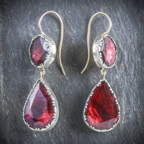 GEORGIAN GARNET DROP EARRINGS 18CT GOLD FLAT CUT GARNET FRONT