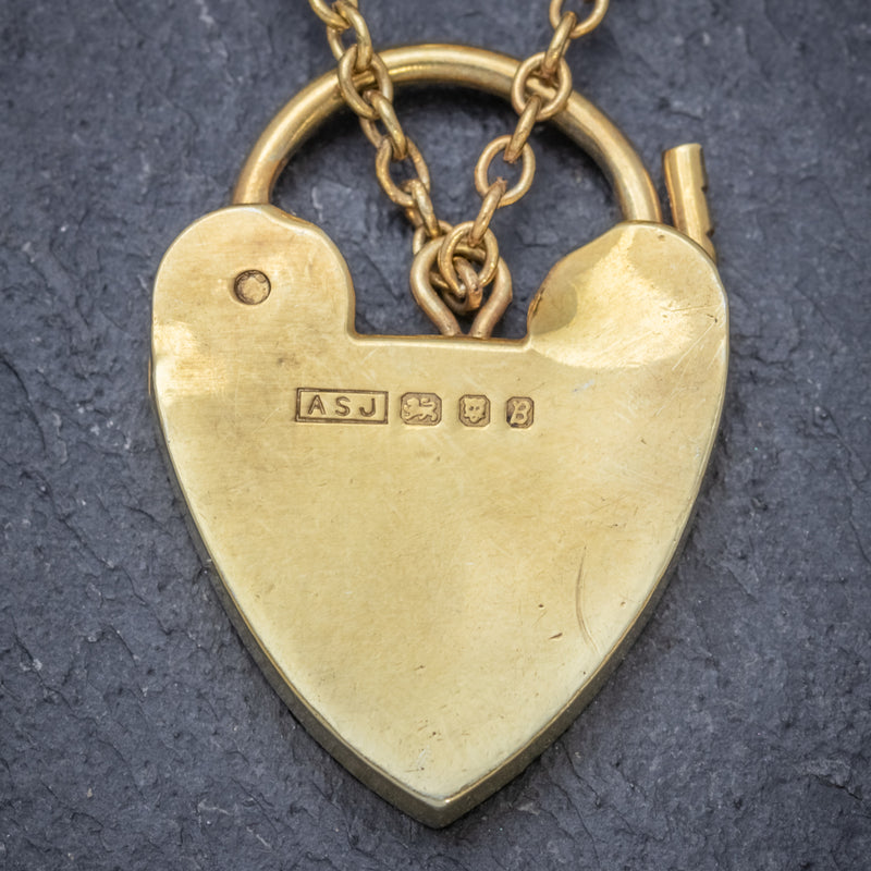 Heart Padlock Belcher Bracelet 18ct Gold On Solid Silver Dated 1976 BACK
