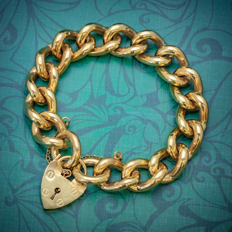 Heart Padlock Belcher Bracelet 18ct Gold On Solid Silver Dated 1976 COVER