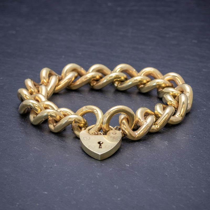 Heart Padlock Belcher Bracelet 18ct Gold On Solid Silver Dated 1976 FRONT