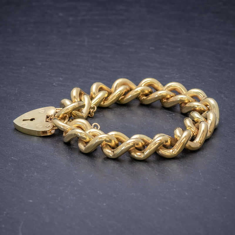 Heart Padlock Belcher Bracelet 18ct Gold On Solid Silver Dated 1976 SIDE
