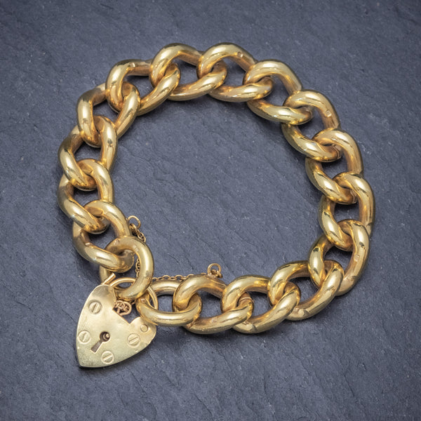 Heart Padlock Belcher Bracelet 18ct Gold On Solid Silver Dated 1976 TOP