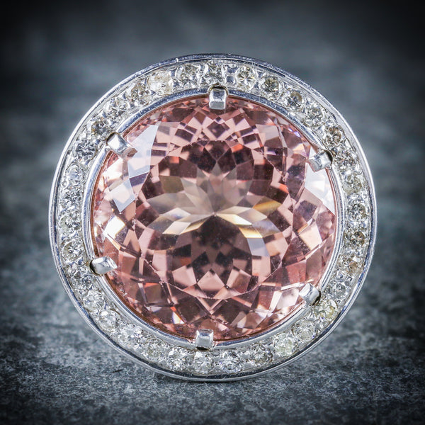MORGANITE DIAMOND RING FABULOUS LARGE RING 14K FRONT