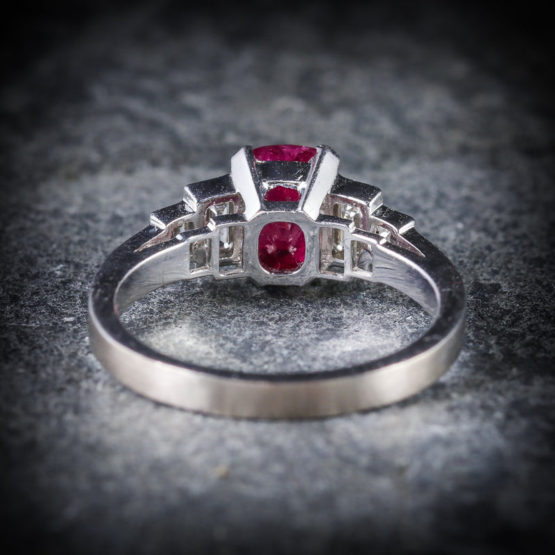NATURAL RUBY & DIAMOND RING 18CT WHITE GOLD BACK