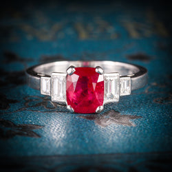 NATURAL RUBY & DIAMOND RING 18CT WHITE GOLD COVER