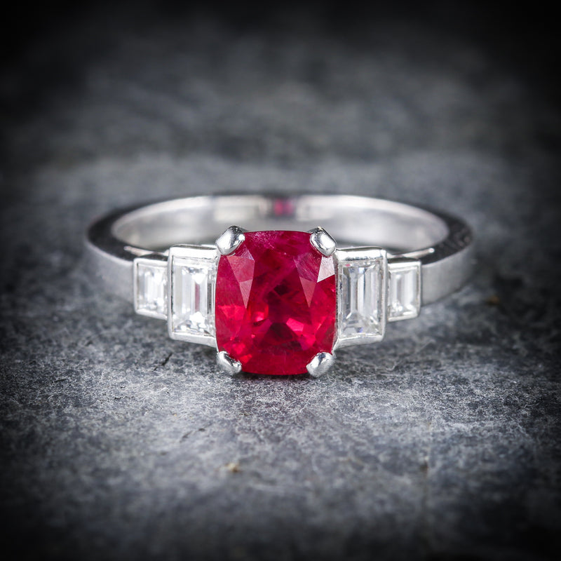 NATURAL RUBY & DIAMOND RING 18CT WHITE GOLD FRONT