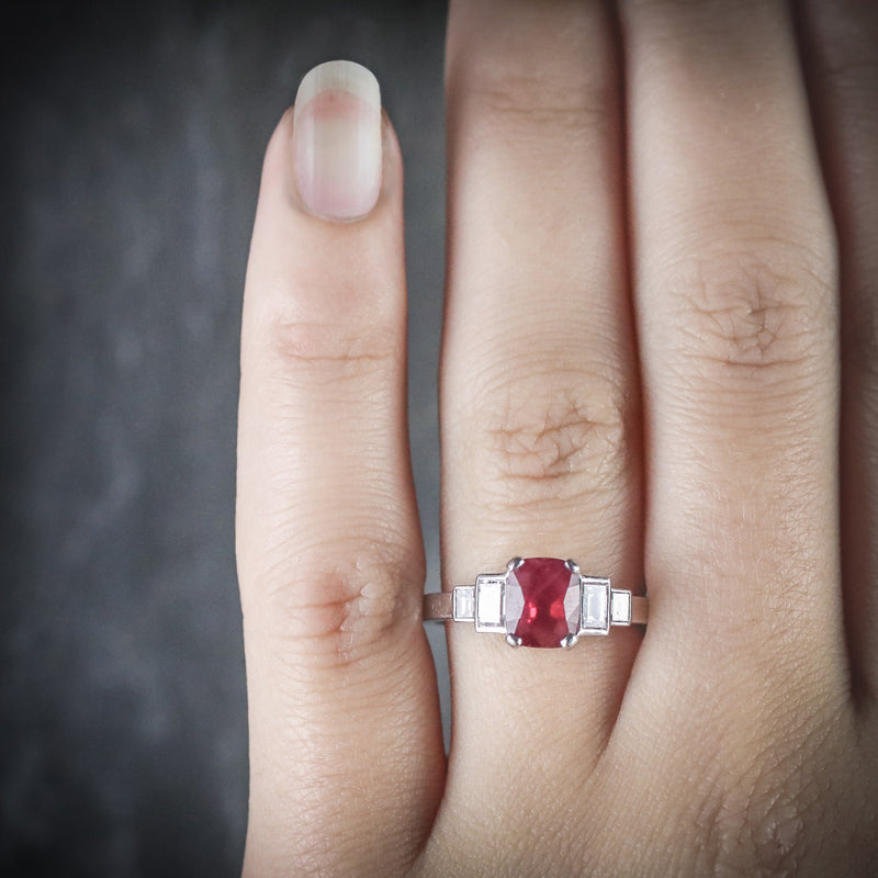 NATURAL RUBY & DIAMOND RING 18CT WHITE GOLD HAND