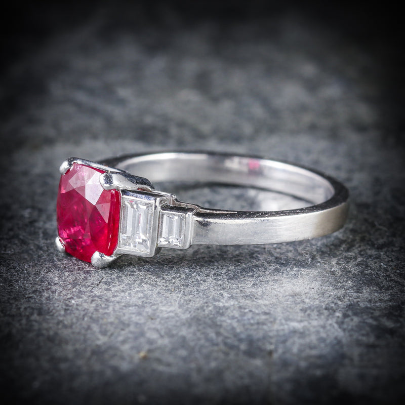 NATURAL RUBY & DIAMOND RING 18CT WHITE GOLD SIDE