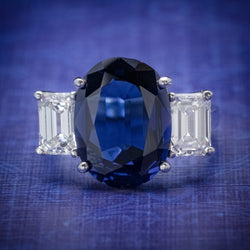 NATURAL SAPPHIRE RING 6.96CT SAPPHIRE 2.07CT DIAMOND PLATINUM CERT COVER