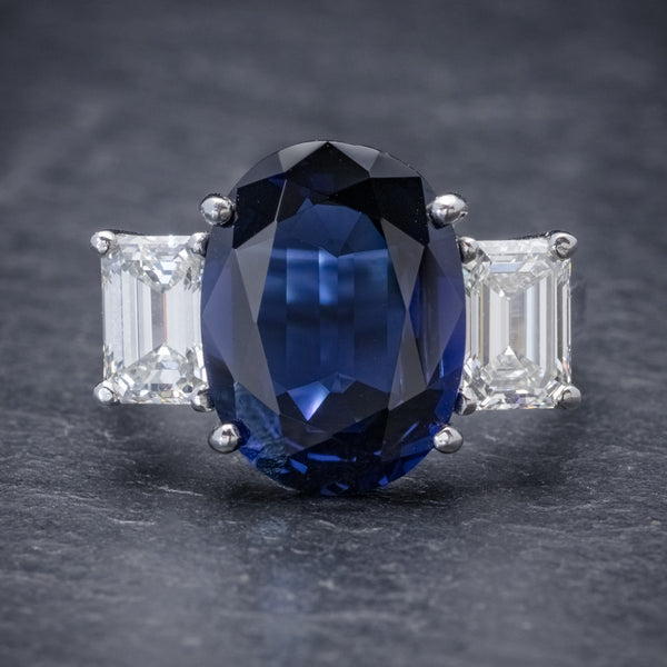 NATURAL SAPPHIRE RING 6.96CT SAPPHIRE 2.07CT DIAMOND PLATINUM CERT FRONT