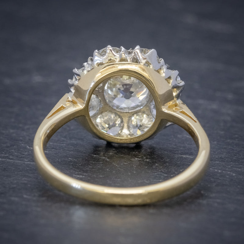 OLD CUSHION CUT DIAMOND CLUSTER RING 18CT GOLD PLATINUM 3CT OF DIAMOND BACK