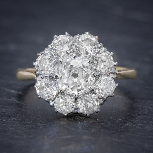 OLD CUSHION CUT DIAMOND CLUSTER RING 18CT GOLD PLATINUM 3CT OF DIAMOND FRONT