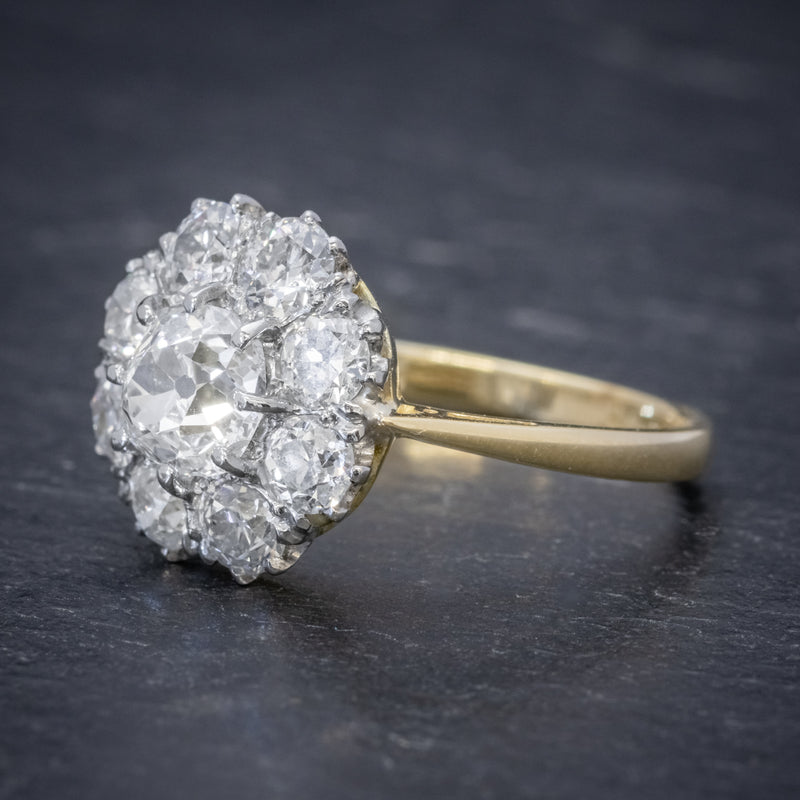 OLD CUSHION CUT DIAMOND CLUSTER RING 18CT GOLD PLATINUM 3CT OF DIAMOND SIDE