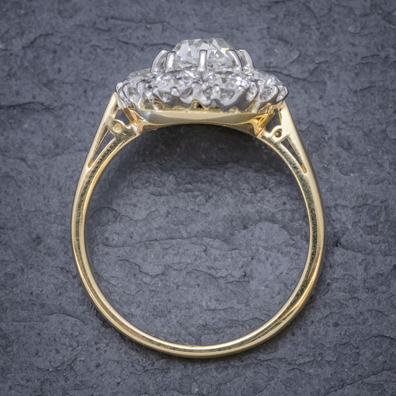 OLD CUSHION CUT DIAMOND CLUSTER RING 18CT GOLD PLATINUM 3CT OF DIAMOND TOP