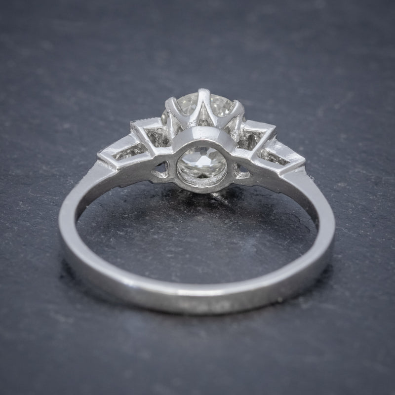 OLD CUT DIAMOND ENGAGEMENT RING PLATINUM 1.65CT SOLITAIRE BACK