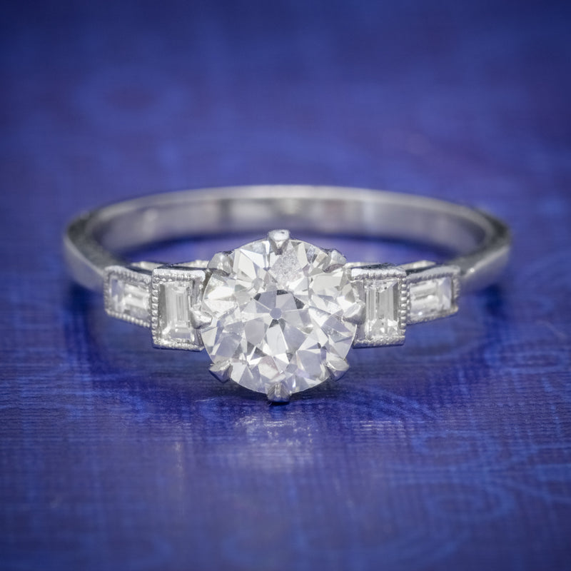 OLD CUT DIAMOND ENGAGEMENT RING PLATINUM 1.65CT SOLITAIRE COVER