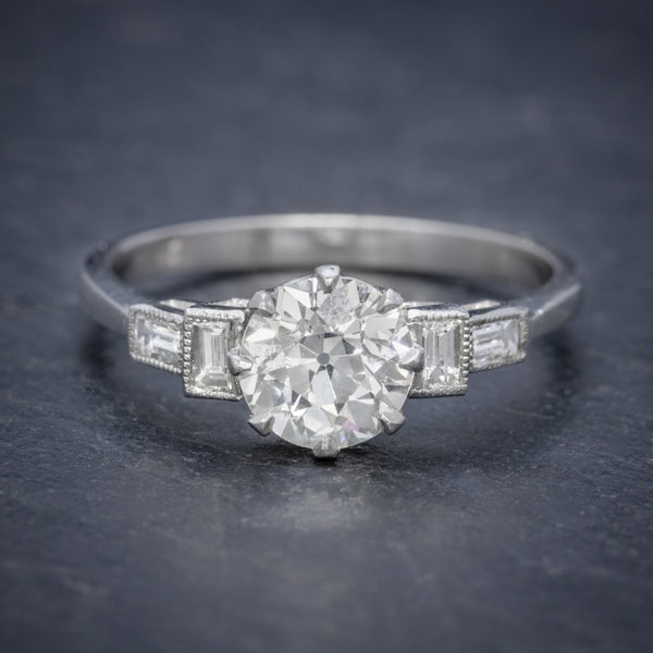 OLD CUT DIAMOND ENGAGEMENT RING PLATINUM 1.65CT SOLITAIRE FRONT