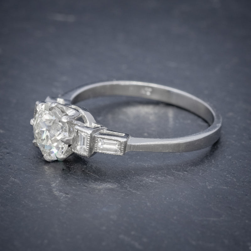 OLD CUT DIAMOND ENGAGEMENT RING PLATINUM 1.65CT SOLITAIRE SIDE