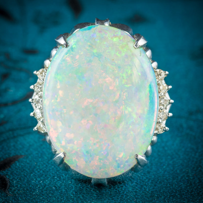 Opal Ring Platinum 10.84ct Opal cover