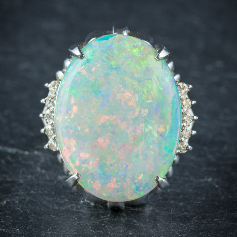 Opal Ring Platinum 10.84ct Opal front